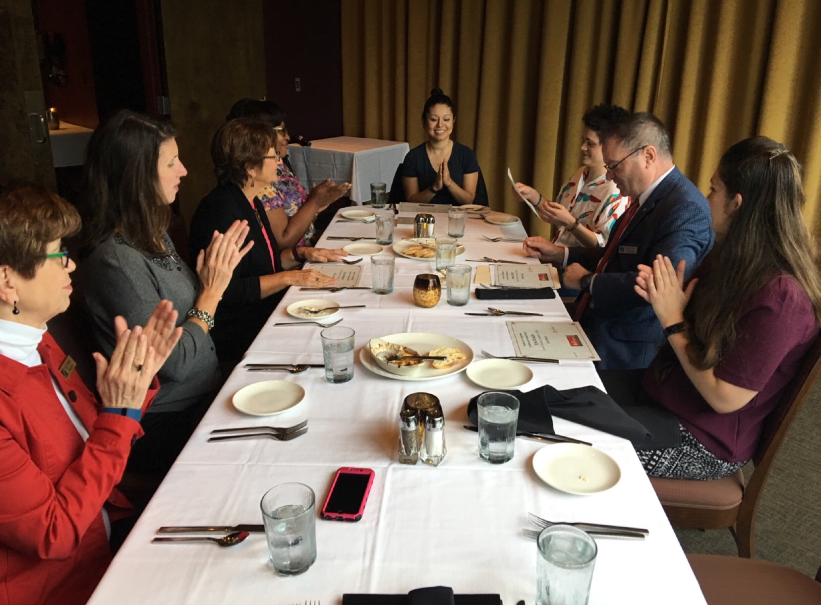 League for Innovation luncheon. Left to right: Dr. Debbie Bouton, Amy Bruning, Jona Maiorano, Nichole Patterson, Catalina Duarte, KC Roberge, Richard Zollinger.