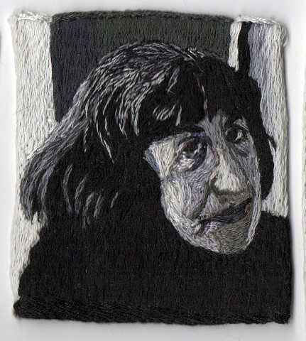 black and white embroidered portrait of artist Lee Krasner