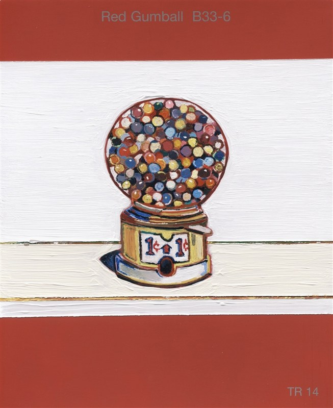 "todd-johnson, artist, image from ""Small Histories"" exhibit; a gumball machine painted on a red gumball colored paint chip."