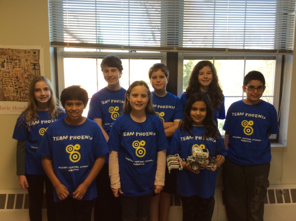 The LEGO Robotics team poses for a picture