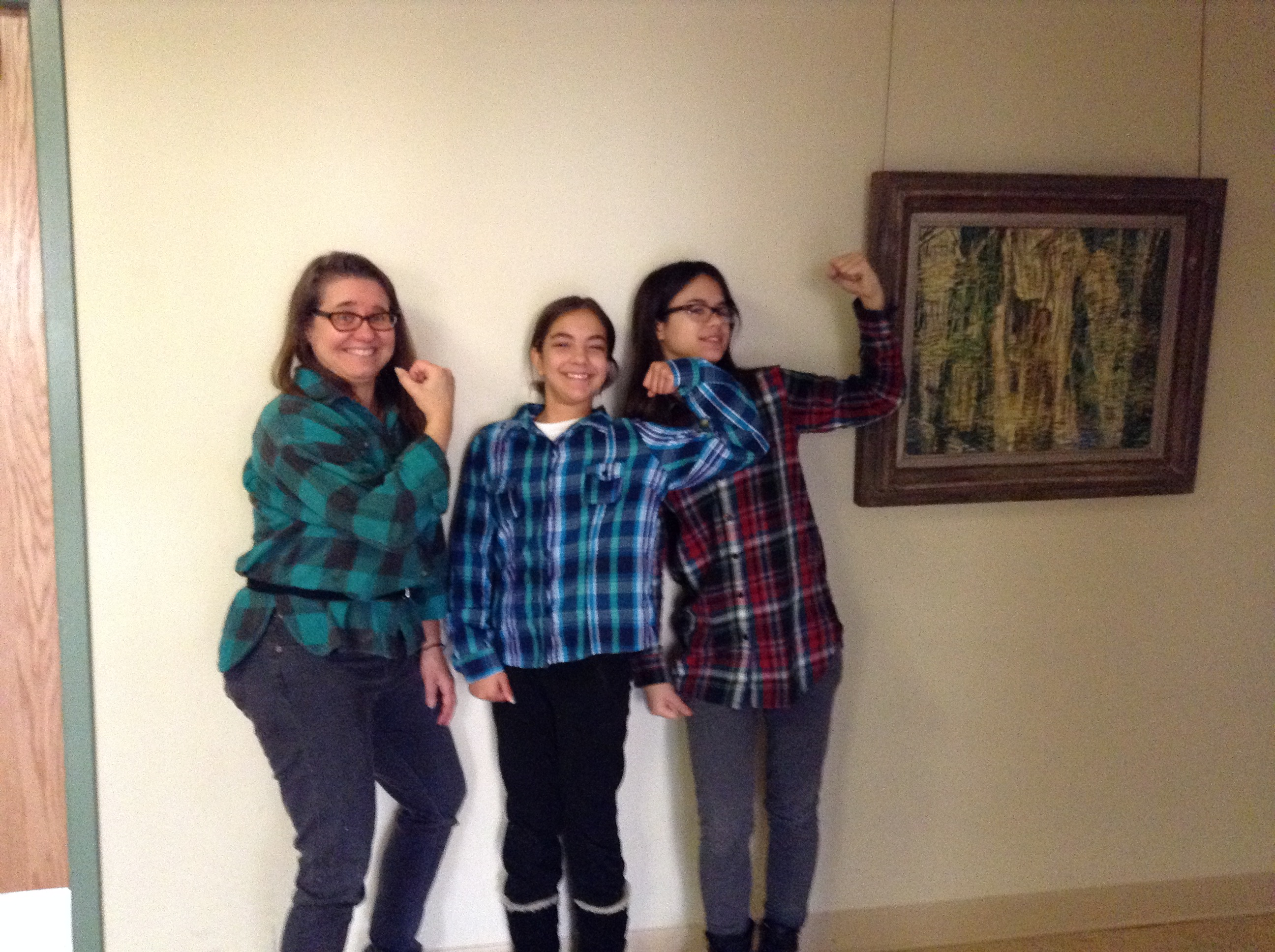 Middle/Upper School Art Teacher/Advisor Caroline J. Maw-Deis poses with students Alexa '21 and Emma '21 on LumberJack Day 2016