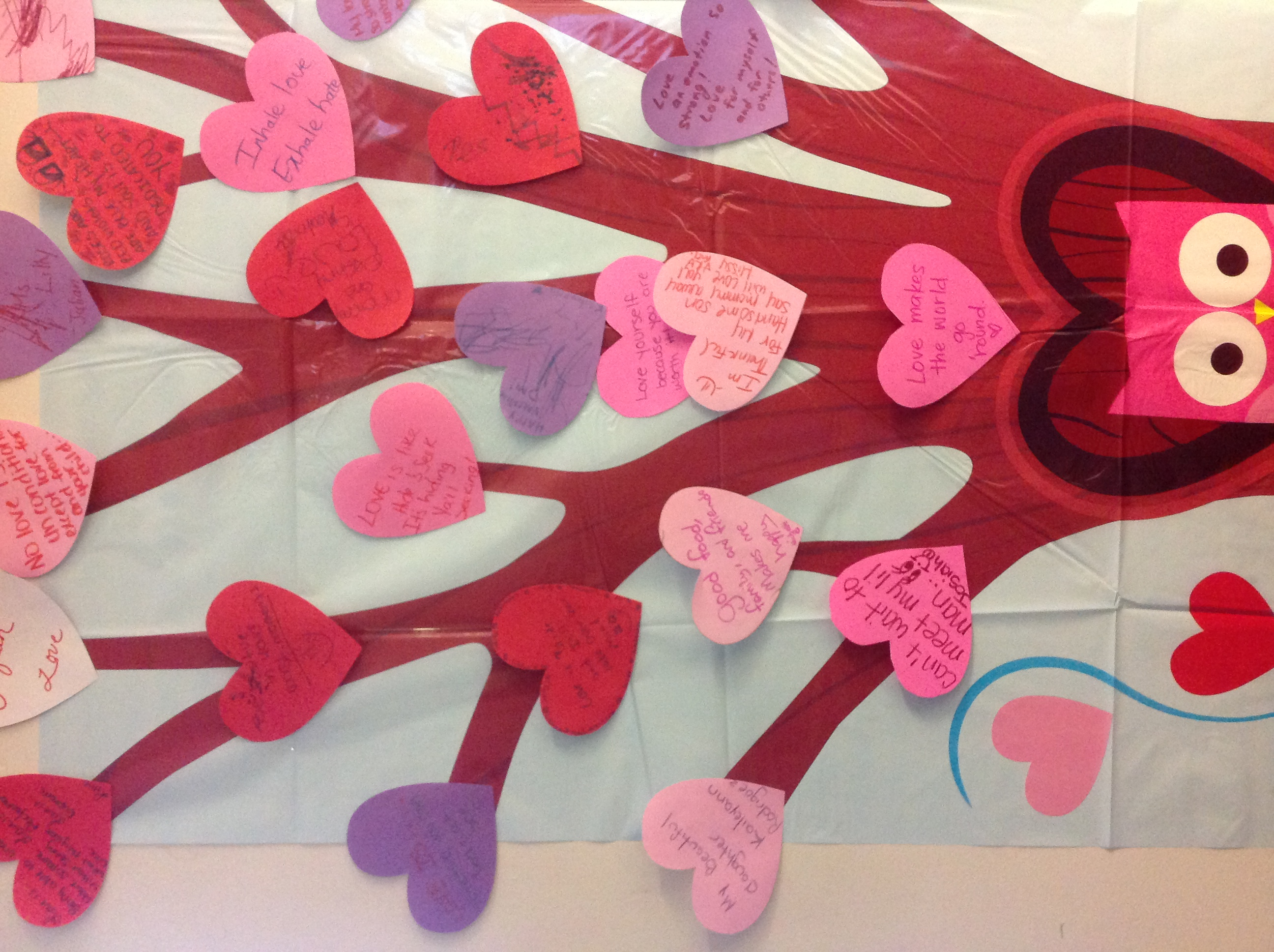 When we visited around Valentine's Day, this heart tree was hanging up in the Cafeteria and it was made by the mothers and children.