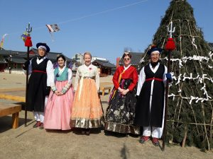 girls in traditional South Korean dresses