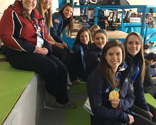 Heather with the Women's Ice Hockey team