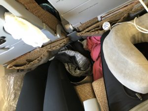 Crammed legs on plane