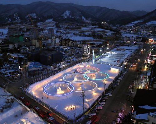 The Olympic Rings are illuminated at a snow festival site on the day of the PyeongChang 2018 one year to go on February 9, 2017 in Pyeongchang, South Korea.