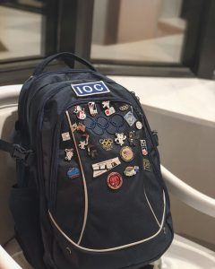backpack with pins