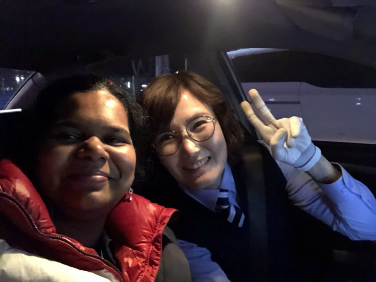 Female cab driver who spoke English