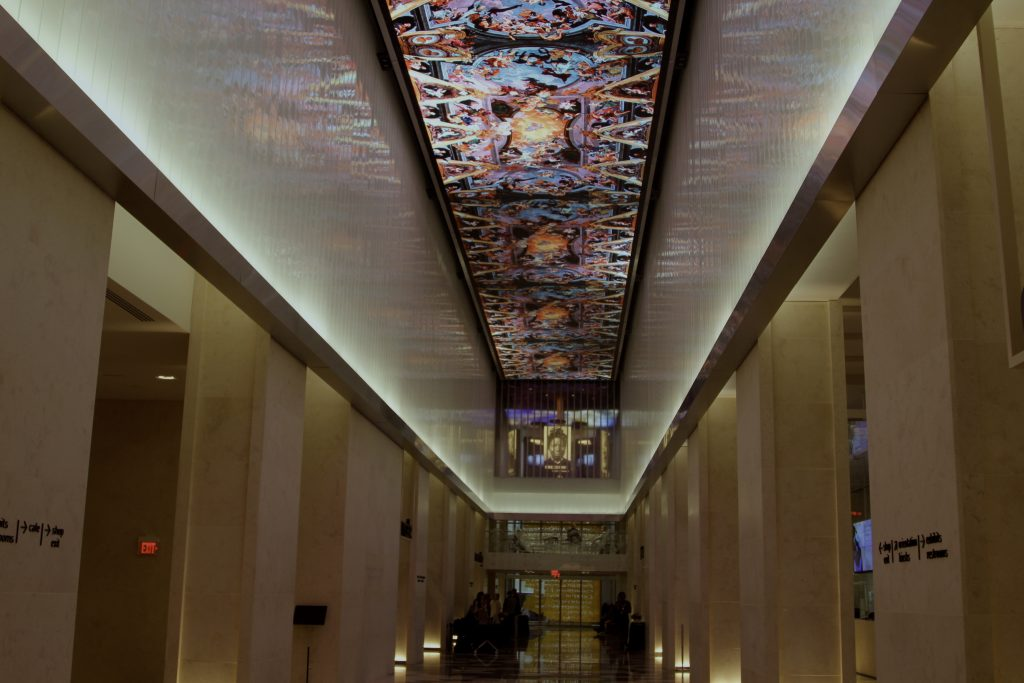 The Museum of the Bible's digital ceiling.