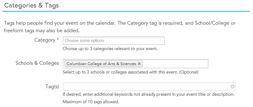 """Screenshot of the Categories & Tags portion of the University Calendar Open Entry Form that shows """"Columbian College of Arts & Sciences"""" selected"""