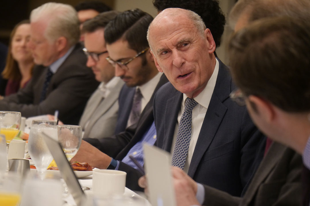 Dan Coats meets with journalists