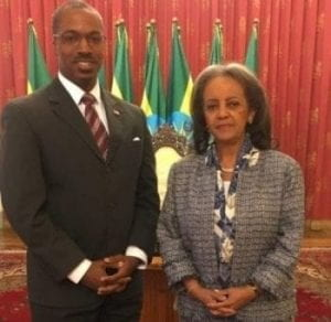 Dean Brigety (left) and Ethiopian President Sahle-Work Zewde (right)