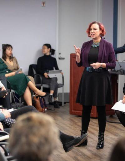 Shirley Graham speaking at How Women Saved Rwanda event