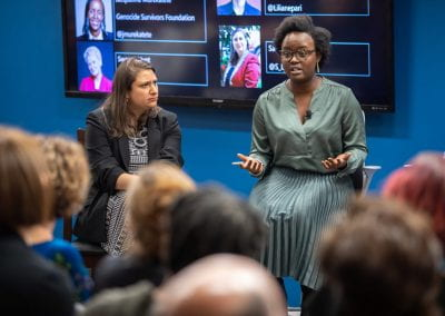 Panelist speaking at How Women Saved Rwanda event