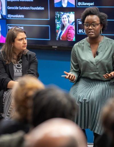 Panelist speaking at How Women Saved Rwanda event