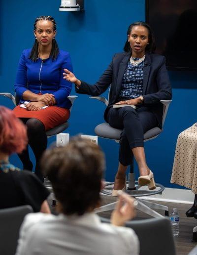 Panelist speaks at How Women Saved Rwanda event