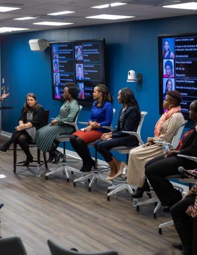 Jennifer Cooke addresses panelists at How Women Saved Rwanda event