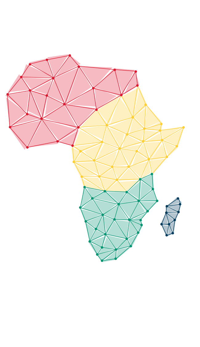 illustration of Africa, red, green and yellow