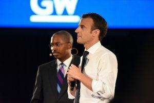 French President Emmanuel Macron and Dean Reuben Brigety