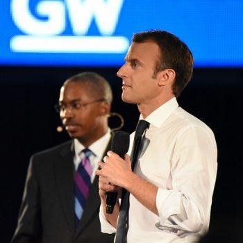 President Emmanuel Macron and Dean Reuben Brigety