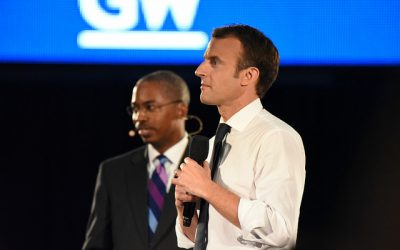 French President Emmanuel Macron Stops By Campus – An #OnlyatGW moment