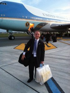 David Solomon in front of AirForce One