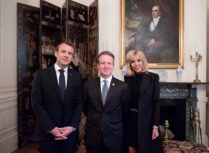 David Solomon with President Macron and Mrs. Macron