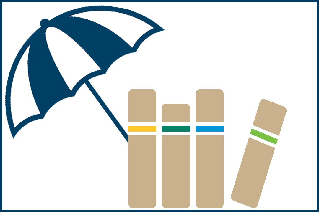 Summer book list graphic - books under a beach umbrella