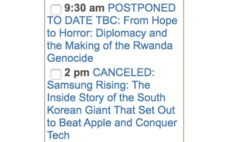 calendar - cancelled events