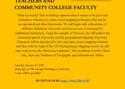 POVERTY MAPPING WORKSHOP FOR GRADE 6-12 TEACHERS AND COMMUNITY COLLEGE FACULTY