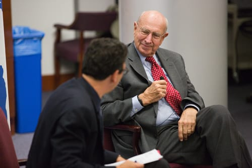 Amb. Thomas Pickering (right) engages in conversation with Frank Sesno (left), director of the School of Media and Public Affairs, for the 3rd Annual Walter Roberts Lecture. Credit: Alexei Agaryshev.