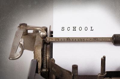 school on typewriter