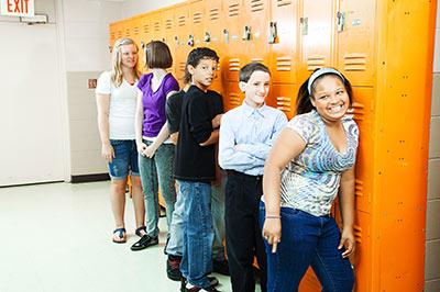 students at lockers