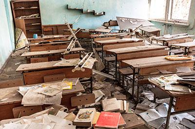 wrecked school