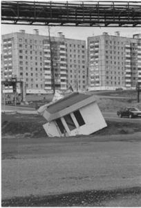 Figure 2: An example of the effects of thawing permafrost on a news-stand in Norilsk