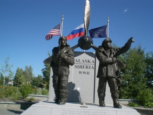 Figure 3: A monument to the Lend-Lease Program during WWII, which saw the US transfer control of ~8,000 military aircraft to the Soviet Union. A poignant example of successful cooperation between two world-powers in the Arctic. Photo Credit: Dmitry Streletsky