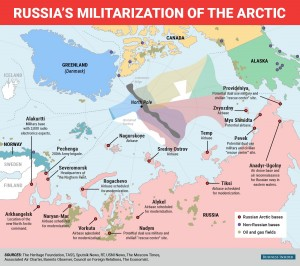 Figure 4: A map of the various military bases either active or being reopened in the Arctic. Though Russia is increasing its presence, the new and renovated bases seem to be geared towards support and logistics for now. Map Credit: Business Insider