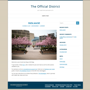 Screenshot of a website homepage using the District theme