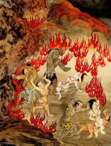painting of Buddhist hell with three people covered in blood and chains being chased by three tormentors with whips, all surrounded by fire