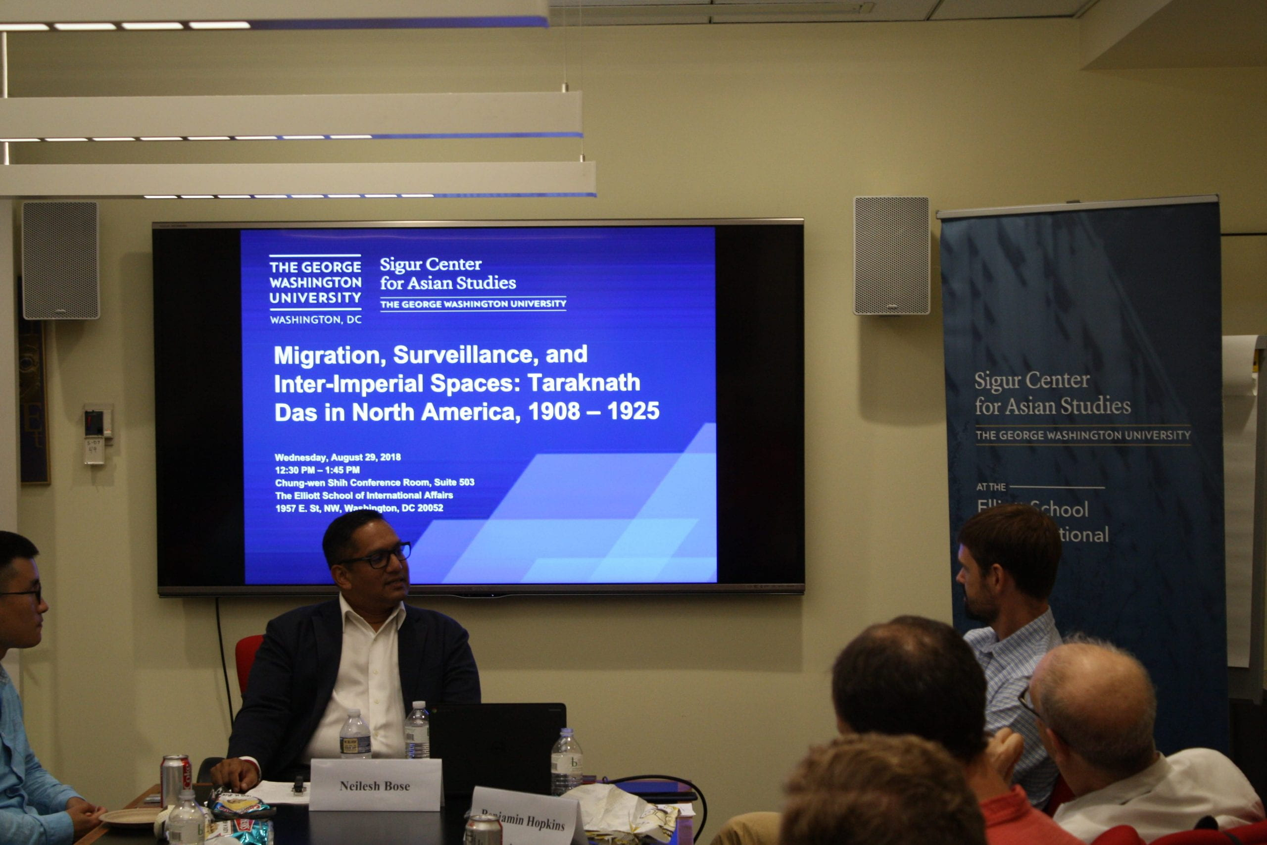 """Professor Neilesh Bose speaking at the public seminar event, """"Migration, Surveillance, and Inter-Imperial Spaces: Taraknath Das in North America, 1908–1925"""" on August 29, 2018."""