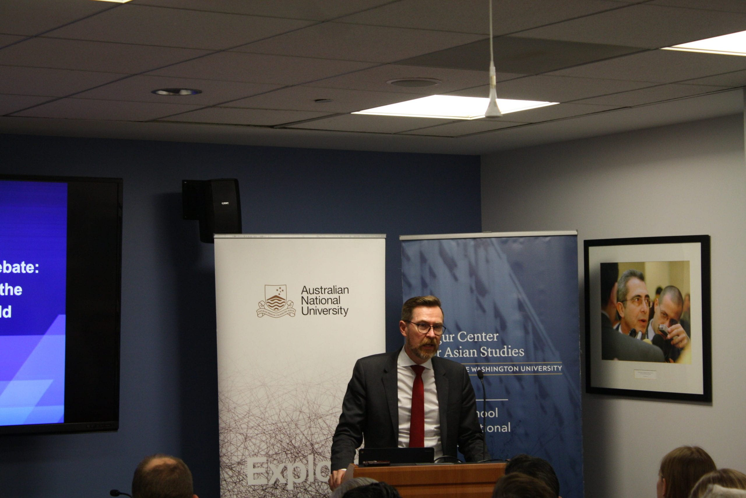 """Professor Rory Medcalf from ANU talking about """"The Great Australian China Debate: Issues and Implications for the United States and the World"""" on September 10, 2018."""