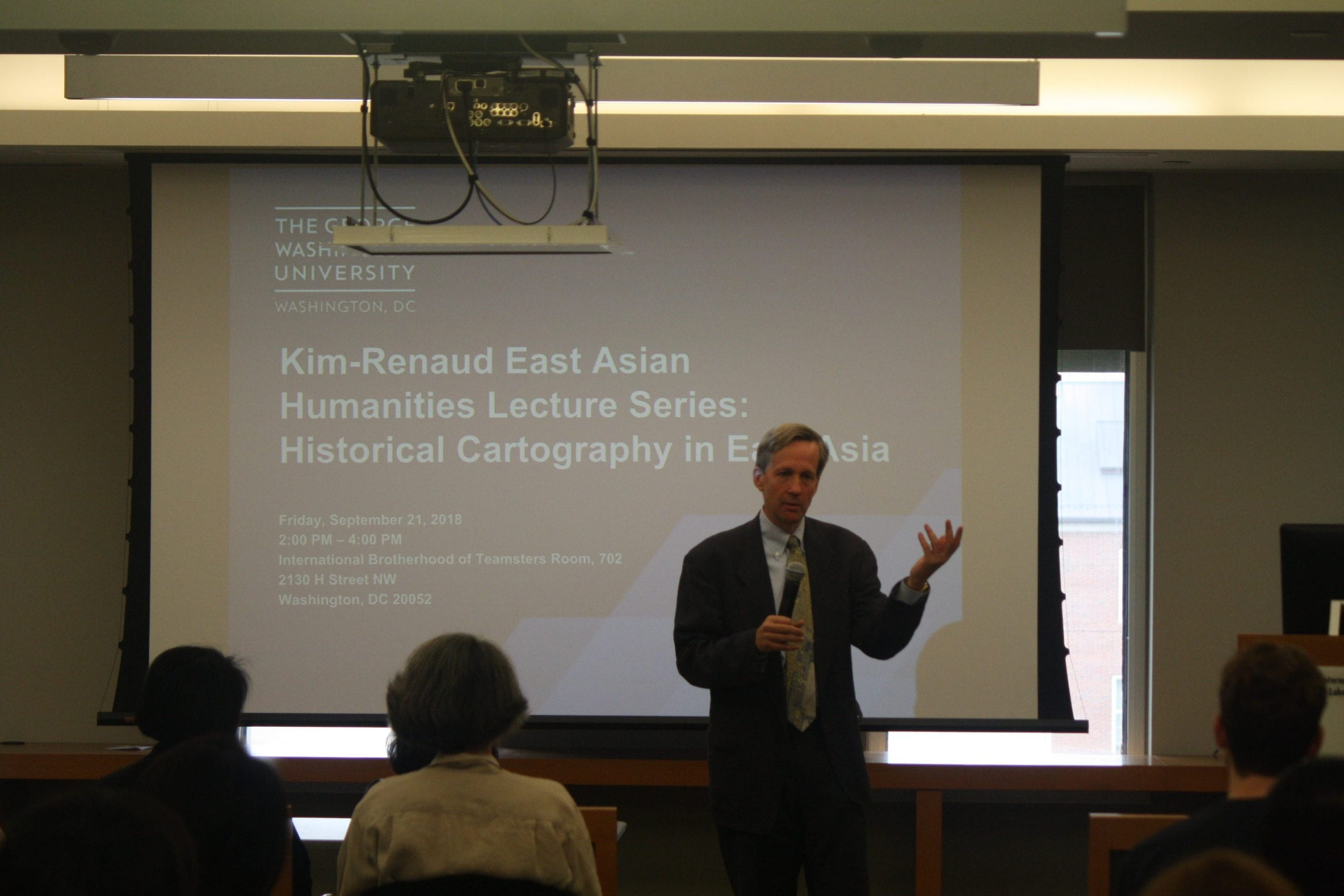"""Dr. Richard Pegg speaking at the """"Historical Cartography in East Asia"""" public event held on September 21, 2018."""