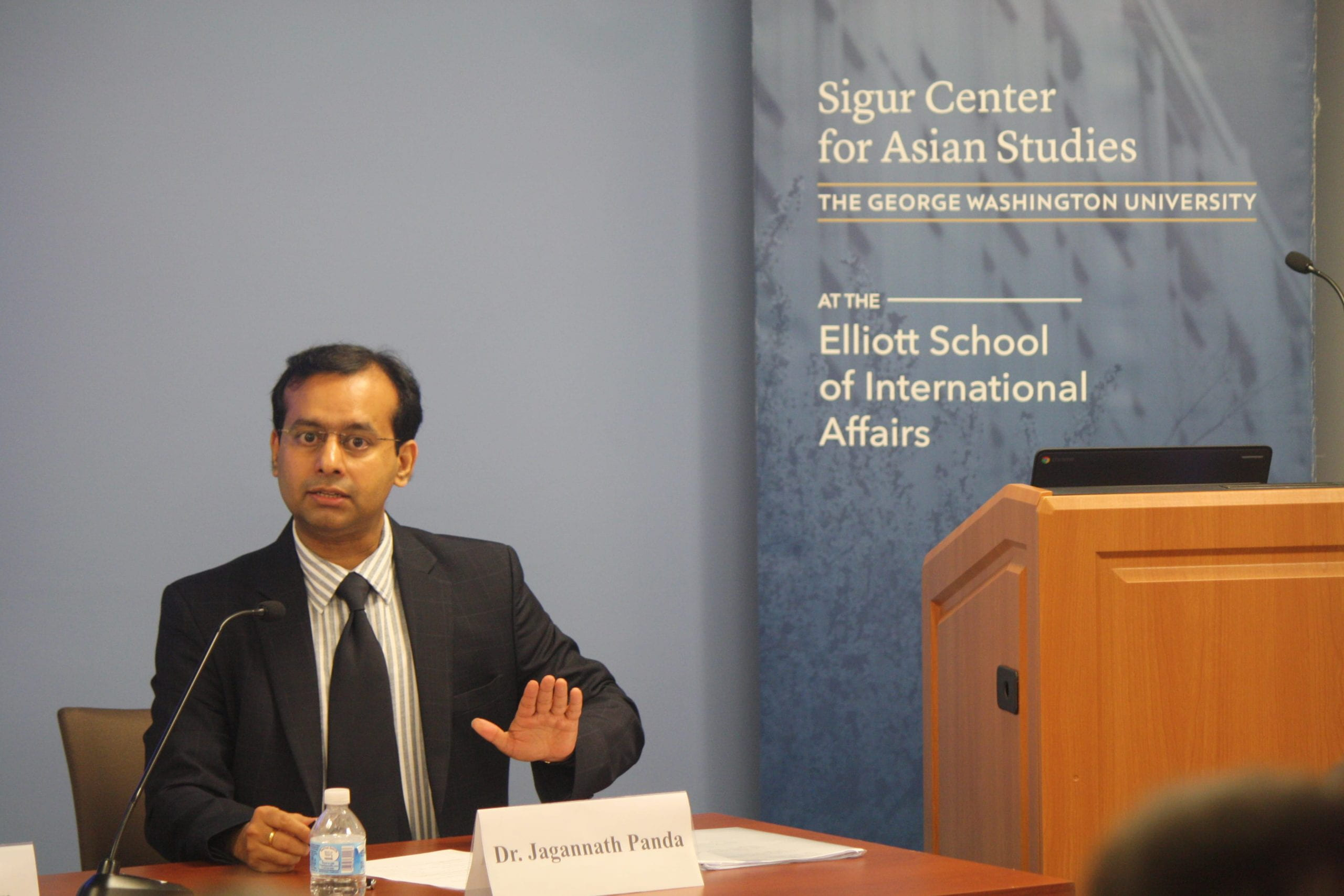 """Dr. Jagannath Panda presenting at """"The Indo-Pacific and Regional Trends: Towards Connectivity or Conflict?"""" public seminar event on September 24, 2018."""