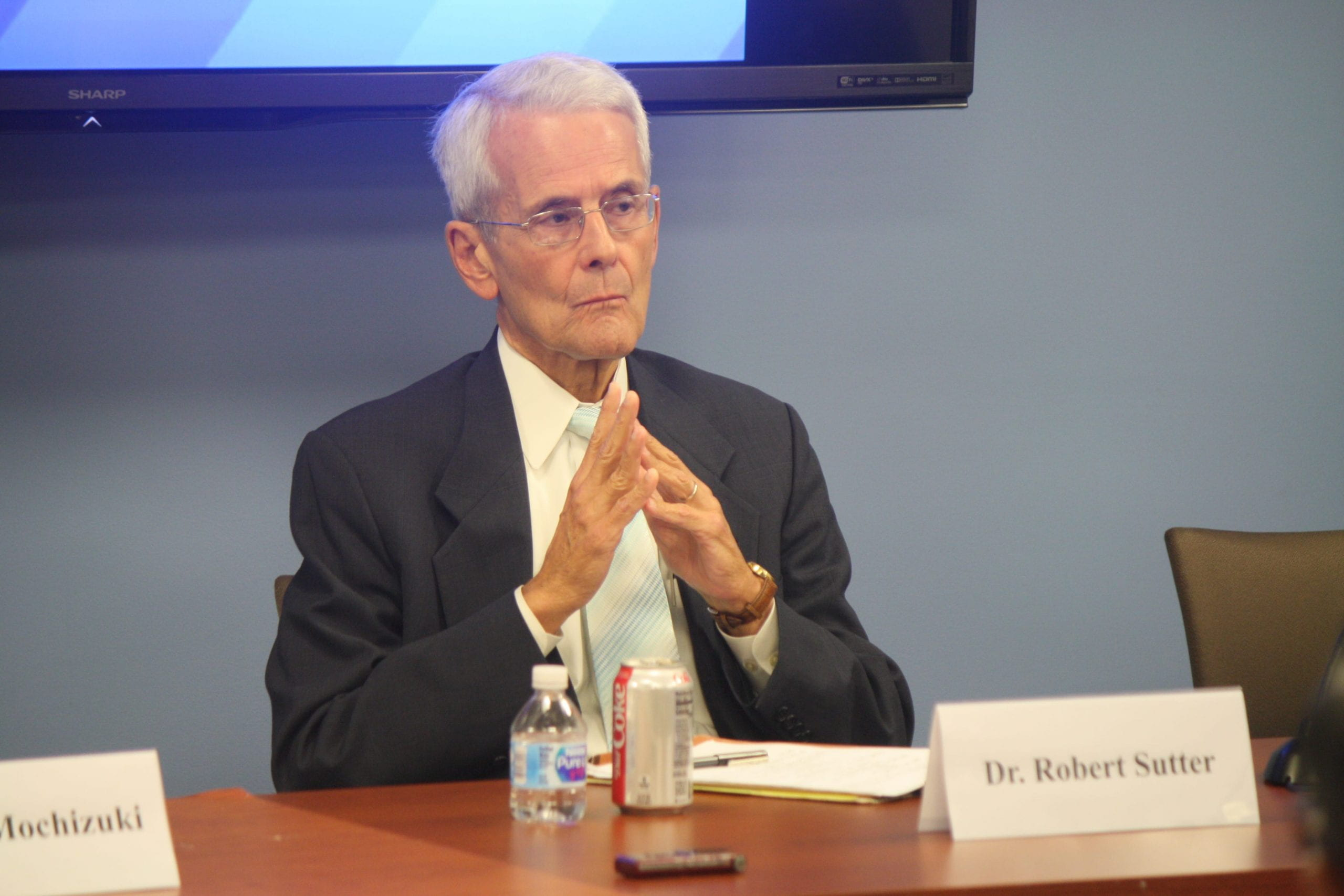 """Professor Robert Sutter taking questions at """"The Indo-Pacific and Regional Trends: Towards Connectivity or Conflict?"""" public seminar on September 24, 2018."""