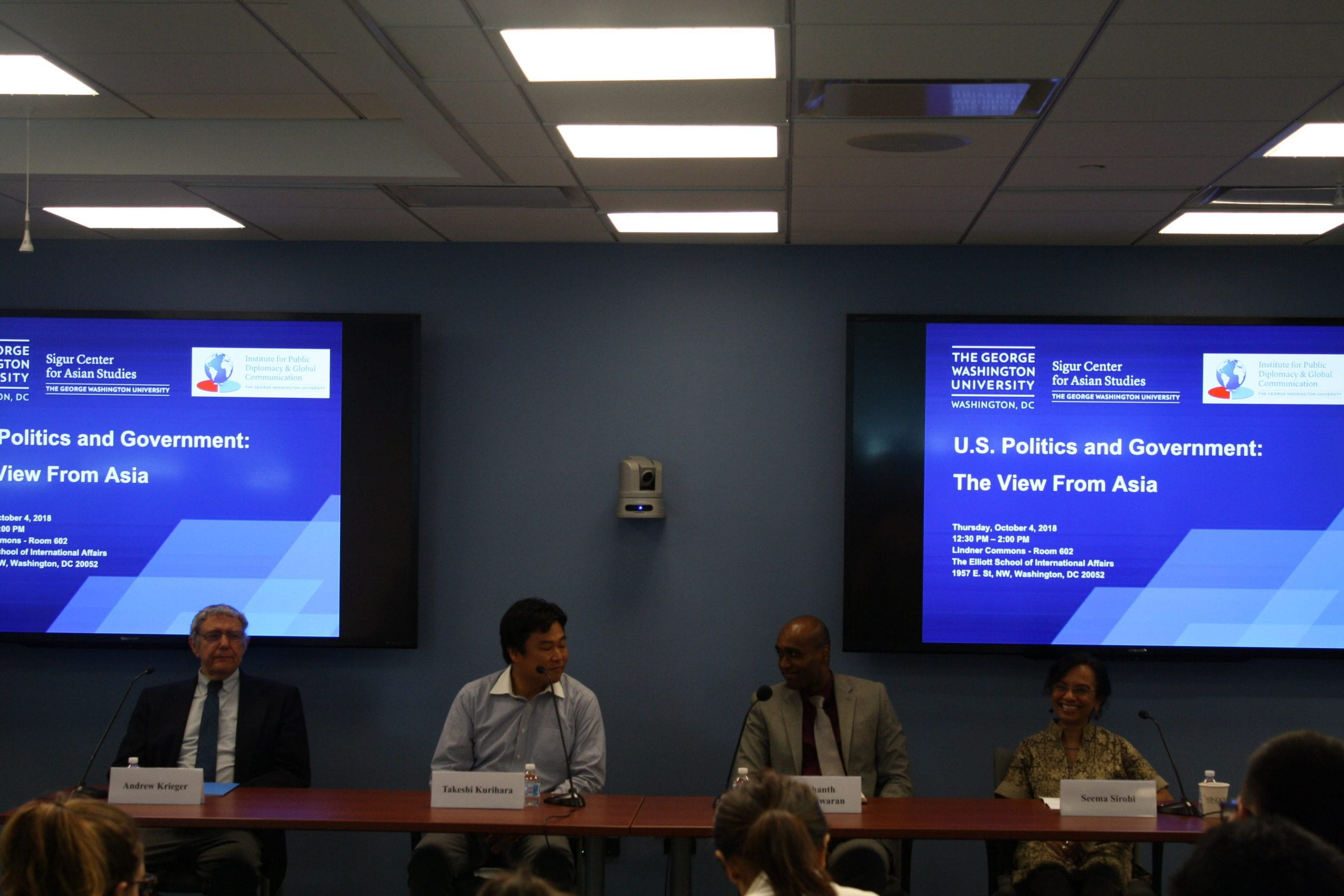 """An esteemed panel of journalists discussing """"U.S. Politics and Government: The View from Asia"""" on October 4, 2018. From left to right: Dr. Andrew Krieger, Takeshi Kurihara, Prashanth Parameswaran, and Seema Sirohi."""