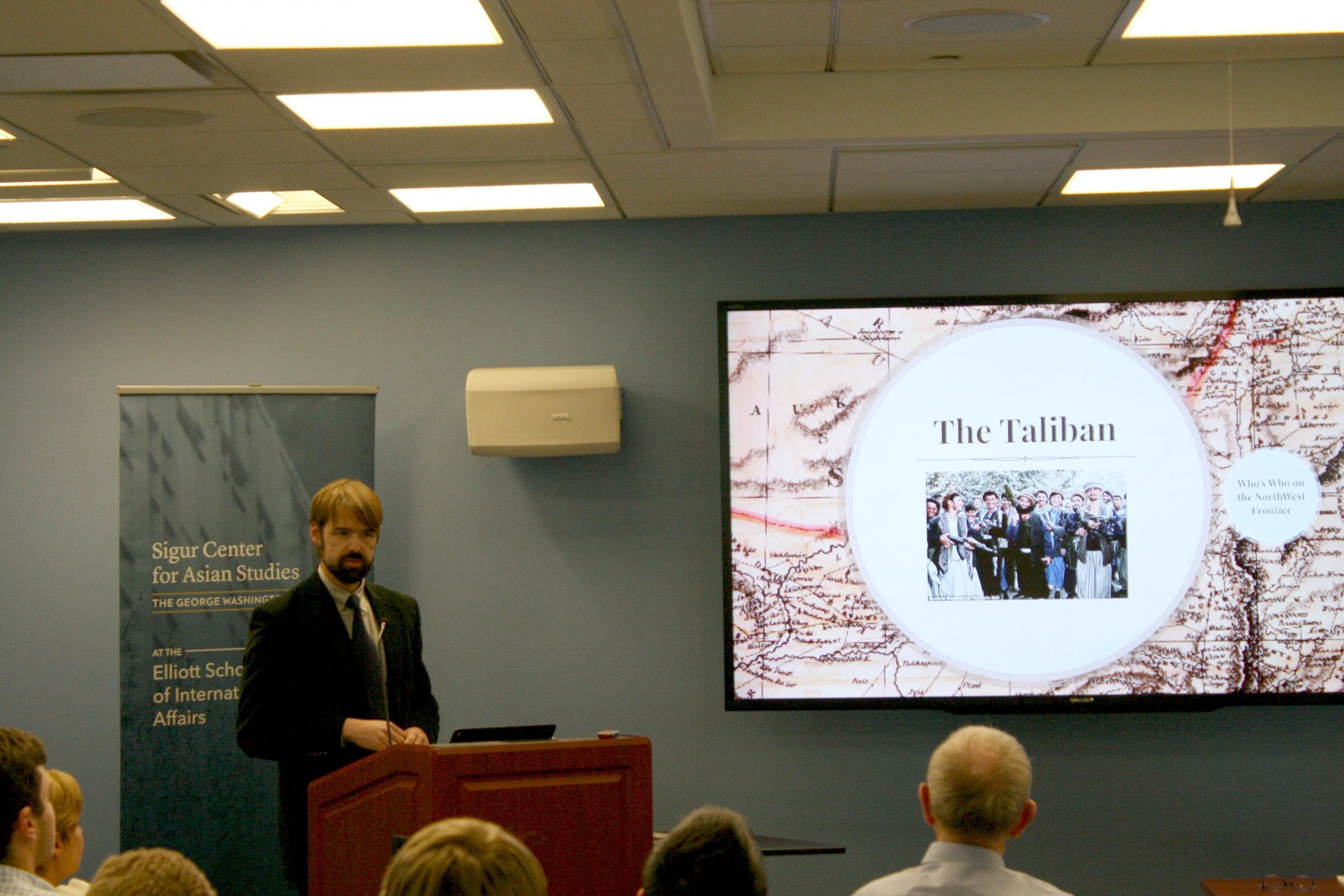 "Sigur Center Director Benjamin D. Hopkins speaking at the ""Afghanistan: America's Forgotten War"" panel discussion on November 28, 2017."