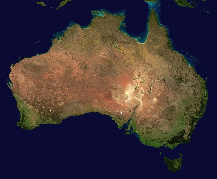 Satellite view of Australia