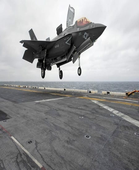 A Lockheed Martin F35-b Lightning 2 Joint Strike fighter jet lands on the USS Wasp