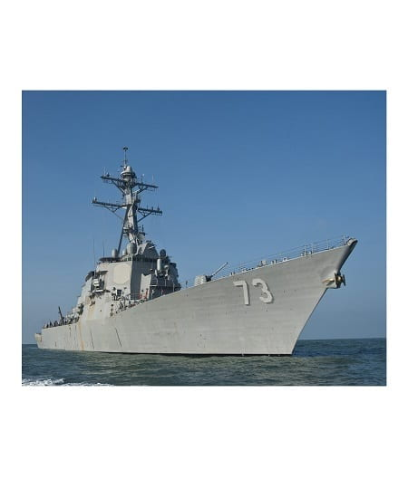 The destroyer ship USS Decatur transits off the coast of Bangladesh