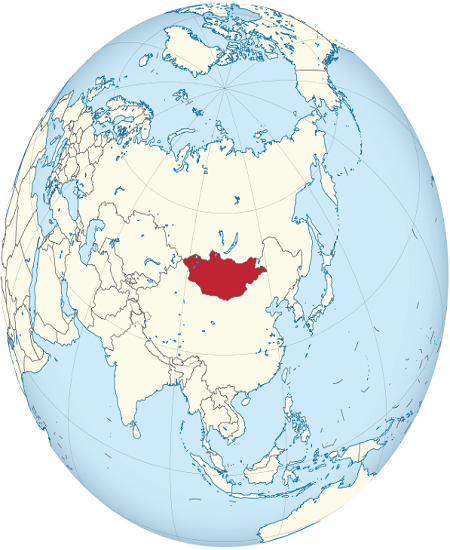 Map of the northern hemisphere with the country Mongolia colored red